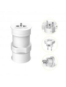 USAMS 3 in 1 Multiple Plug Travel Adapter - White